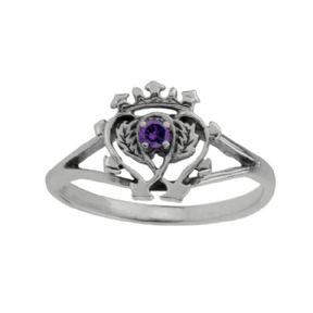 Scottish Luckenbooth Silver Ring with Amethyst colour stone 0669